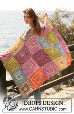 """Mexico - In Krausrippe gestrickte DROPS Decke mit Vierecken in """"Fabel"""". DROPS design: Modell Nr. FA-112 - Free pattern by DROPS Design"""