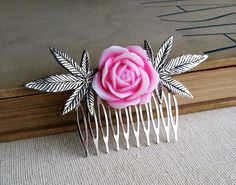 "PHOTO (above): Victorian Rose Hair Comb Silver in Pink by Smokies Toke Couture Sacred Heart of Mary Jane Earrings by Silverkind ""The Sacred Heart of Mary Jane"" represents the highest lo… Marijuana Plants, Youre My Person, Rose Hair, Hair Comb, Swagg, Hair And Nails, Pink, Hair Accessories, Accessories"
