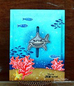Shark Card by Jess  | Shark Bites stamp set by Newton's Nook Designs #newtonsnook #sharkweek