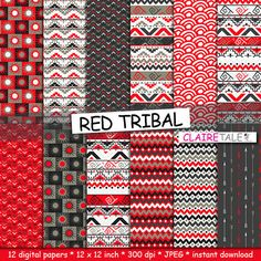 "Tribal digital paper: ""RED TRIBAL"" with tribal patterns and tribal backgrounds, arrows, feathers, leaves, chevrons in red by ClaireTALE on Etsy"