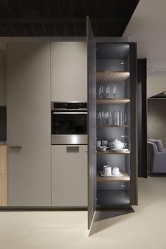 Sistema de apertura electrónica Modern Kitchen Interiors, Modern Kitchen Design, Home Decor Kitchen, Interior Design Kitchen, Home Kitchens, Pantry Design, Minimalist Kitchen, Cuisines Design, Küchen Design