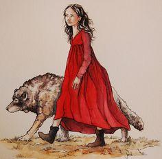 arya stark with her wolf companion nymeria.