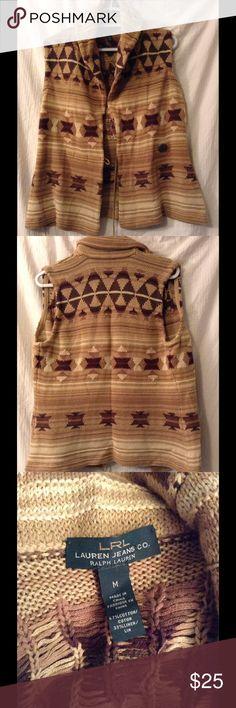 Lauren Ralph Lauren knit sweater vest. Very cozy and soft knit sweater vest. Cotton/linen blend Lauren Ralph Lauren Sweaters
