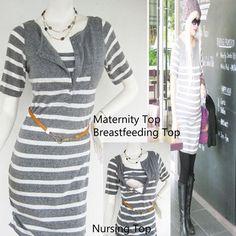 NIKKI Maternity Clothes Nursing Top Breastfeeding Tunic NEW Original Design GREY Stripes Pregnancy Shirt on Etsy, $34.28