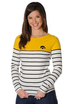 Iowa Hawkeyes Boat Neck Striped Top - University Girls Apparel