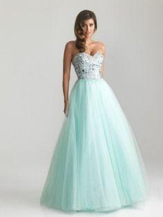 A-line/Princess Sweetheart Beading Sleeveless Floor-length Tulle Dresses - Long Prom Dresses - Prom Dresses
