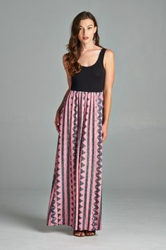 Cute, simple Aztec-inspired print on skirt maxi dress. Comfortable and stylish dress that can be worn casually or dressy.  Made in USA.  www.cherishusa.com www.fashiongo.net/cherish