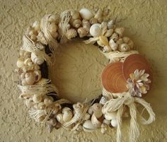 seashell wreath   Seashell wreath!   shells   Pinterest