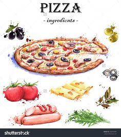 Hand-drawn watercolor food illustrations. Isolated drawings of the pizza ingredients - cheese, tomatoes, olives, spices, sausages, arugula.