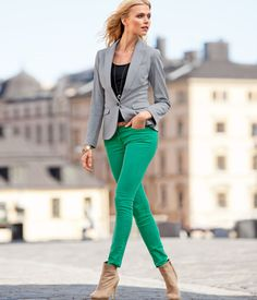 green jeans with a gray jacket