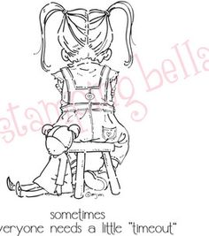 Stamping Bella Unmounted Rubber Stamp-Anna And Her Time Out Chair