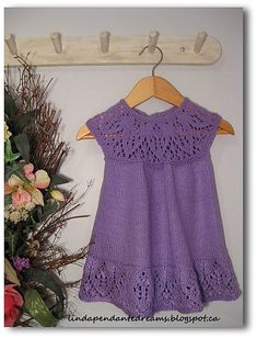 lindapendante dreams: Meredith Lace Knit Baby Dress Love this dress Knitting For Kids, Baby Knitting Patterns, Lace Knitting, Crochet For Kids, Crochet Baby, Knit Crochet, Knit Baby Dress, Knitted Baby Clothes, Crochet Clothes