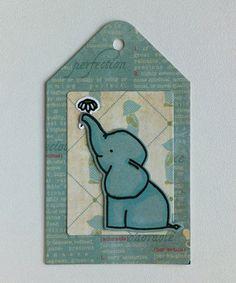 Tag card kid birthday critters elephant Avery Elle Ellie elephant stamp set - MFT Blueprints Tagbuilder 1 MFT Tag Builder Blueprints 1 Die-namics - Authentique Precious collection paper pad - JKE