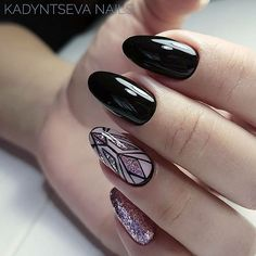 Oval nails with black gel polish and black line art over pink gel polish with sparkles. Beautiful nails by @kadyntseva_nails Ugly Duckling Nails page is dedicated to promoting quality, inspirational nails. Tag us and mention what Ugly Duckling products you used for a chance to be featured #nailartaddict #nailswa