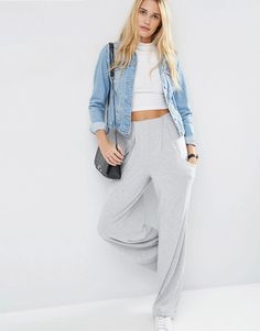 ASOS Slouch Wide Leg Trousers with Drop Pockets