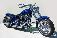 Custom Harley Fat Boy blue fire paintjob #EasyNip