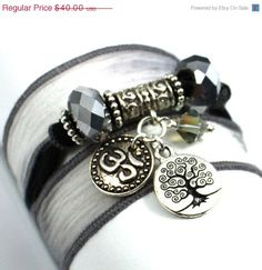 ON SALE Charcoal to Slate Silk Wrap Bracelet by anjalicreations, $34.00