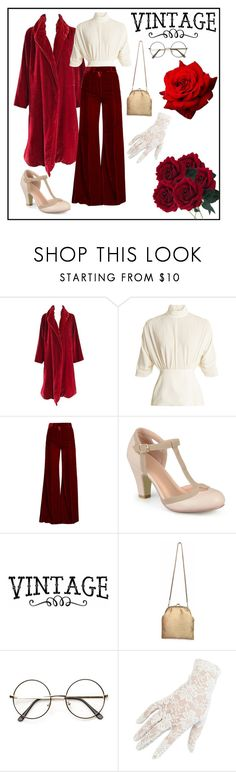 """Red Velvet Vintage"" by alexandra-scamander ❤ liked on Polyvore featuring Emilia Wickstead, Racil, Journee Collection, Ricki Designs, Black and vintage"