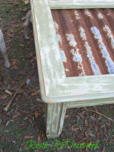 Rustic ReDiscovered: corrugated tin Coffee Table Makeover