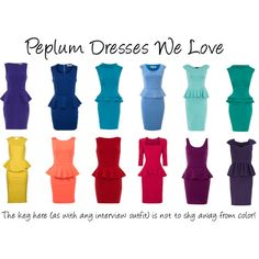 We're loving Peplum dresses for the interview portion of the pageant competition. Here are some of our faves in a rainbow of colors!