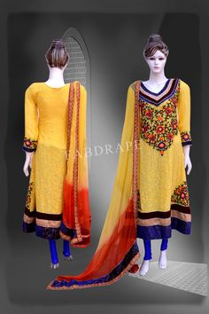 Mustard Yellow  chickankari embroidered suit #FDSKH0020_001