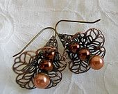 Flower Earrings in Cappuccino, Filigree metal Flowers, Pearls in creamy browns, Autumnal Tan Earrings, Gift for Her, Gift under 20