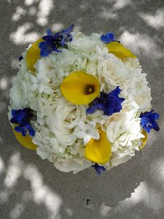 White hydrangea, white roses, stephanotis and for a pop of color: Yellow mini calla lilies and dark blue delphinium