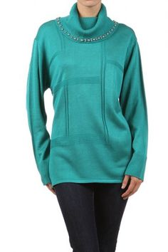 100 percent Acrylic 1S/1M/1L/1XL Per Pack Teal (shown), Black, White, Red, Purple This HIGH QUALITY top is VERY CUTE!! Made from a light and comfy fabric, this loose fit, long sleeves top with turtleneck and embellishment is hand washable, and fits true to size.