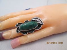 OLD PAWN STERLING MALACHITE  RING SILVER NAVAJO SIGNED A K  SIZE 6.5  12g