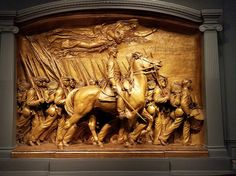 Shaw Memorial (and the all-black regiment 54th Massachusetts) 1900 by Augustus Saint-Gaudens (painted plaster) at the National Gallery of Art, Washington DC