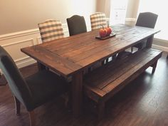 Custom Handmade Farmhouse Table by MattesonWoodworks on Etsy Farmhouse Bench, Farmhouse Style Table, Entryway Storage, Dining Table In Kitchen, Dining Tables, Dining Area, Dining Rooms, Dining Bench, Bench Coats