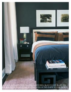 Tobacco Brown and Black-masculine bedroom