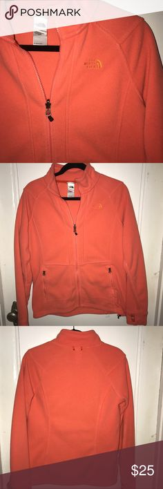 North face Fleece Coral jacket normal wear  it was one of my favorite jackets Not as bright as it was new due to washing The North Face Jackets & Coats