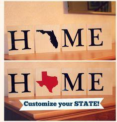 """State Home Block (5""""x4.5), State Home Block, State Scrabble Block, Home Scrabble, Home California, Jersey, State Home Decor, Texas, Florida,"""