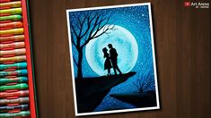 Couple Moonlight scenery drawing with Oil Pastels - step by step