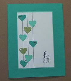 Love Handmade Greeting Card Hearts Stamped Wedding by Sassadoodle