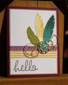 Feathered Hello by NaomiW - Cards and Paper Crafts at Splitcoaststampers