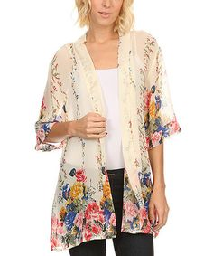 Look what I found on #zulily! Cream Floral Sheer Open Cardigan - Plus #zulilyfinds