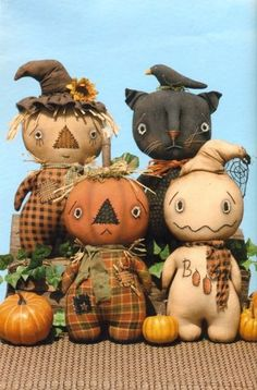 Primitive Pattern Stumpkins Scarecrow Pumpkin Ghost and Cat