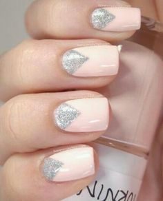 Pink & sparkle nails