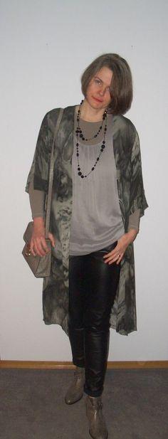 Kimono, chiffon top and black leather pant.