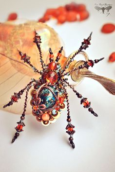"Spider brooch from the collection ""Wonderland"" Beaded Crafts, Wire Crafts, Fabric Jewelry, Beaded Jewelry, Jewellery, Brooches Handmade, Handmade Jewelry, Unique Jewelry, Spider Decorations"