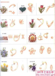 Ribbon Embroidery Stitchionary  - pictorial of a few basic ribbon embroidery stitches mostly for flowers.
