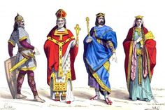 Merovingian Warrior, Bishop, King and Queen. 6th century.