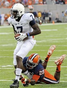 PENN STATE – FOOTBALL 2013 – Penn State wide receiver Eugene Lewis (7) breaks away from Syracuse free safety Jeremi Wilkes to score a touchdown during the fourth quarter of an NCAA college football game Saturday, Aug. 31, 2013, in East Rutherford, N.J. Penn State won 23-17.