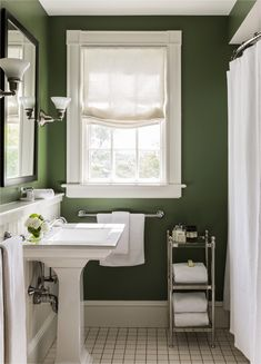 Green Bathroom with Modern and Cool Design Ideas green black white bathroom ideas Related Post Simple Small Bathroom Decor Brings The Ease Inside. Green Bathroom Colors, Bathroom Paint Colors, Green Bathroom Decor, Bathroom Interior, Dark Green Bathrooms, Green Paint Colors, Bathroom Color Schemes, White Bathrooms, Green Home Decor