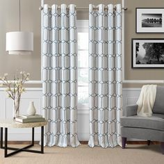 Elrene Home Fashions Kaiden Soft Blue Single Blackout Window Curtain Panel - 52 in. W x 84 in. L