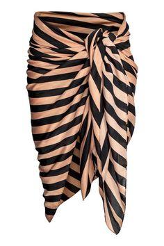 Wzorzysty sarong - Czarny/Beżowy/Paski - ONA | H&M PL
