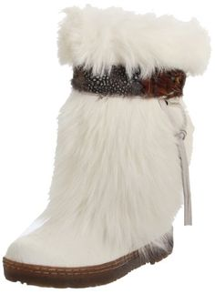 Bearpaw Kola Women's Goat Fur Sheepskin Exotic Snow Boots for sale online Furry Boots, Snow Boots Women, Ladies Boots, Cool Boots, Mid Calf Boots, Ankle Boots, Winter Boots, Warm Boots, Fashion Boots