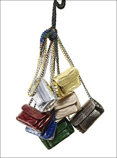 Nancy Gonzalez chandelier of crocodile mini hand covered chain bags all  tied up in silk ropes 16943acf9c
